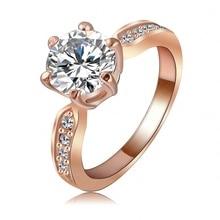 Kate cincin perkahwinan puteri 18k meningkat emas / platinum bersalut wanita zirkon jelas fesyen barang kemas cincin ri-hq1053