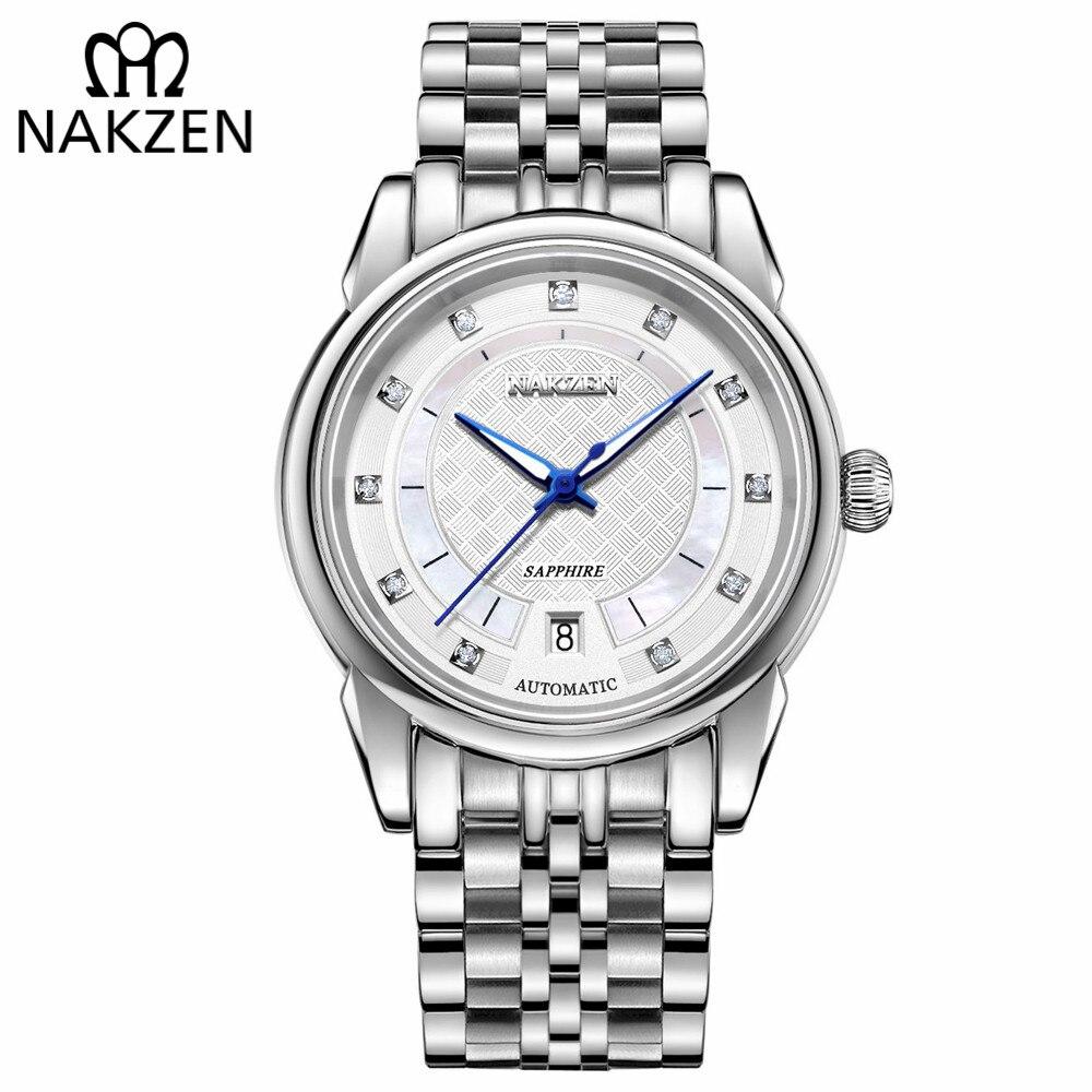 Saatler'ten Mekanik Saatler'de NAKZEN erkekler japonya otomatik NH35 hareketi mekanik saat Mens aydınlık su geçirmez elmas klasik kol saatleri Reloj Hombre