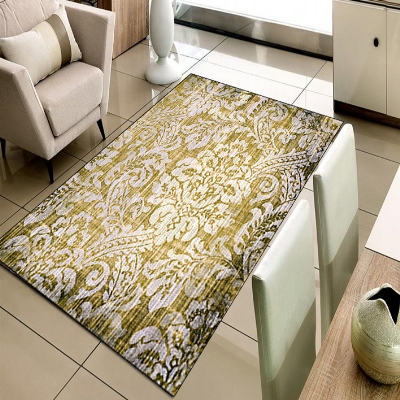 Else Yellow White Damask Ottoman Vintage Design 3d Print Non Slip Microfiber Living Room Decorative Modern Washable Area Rug Mat