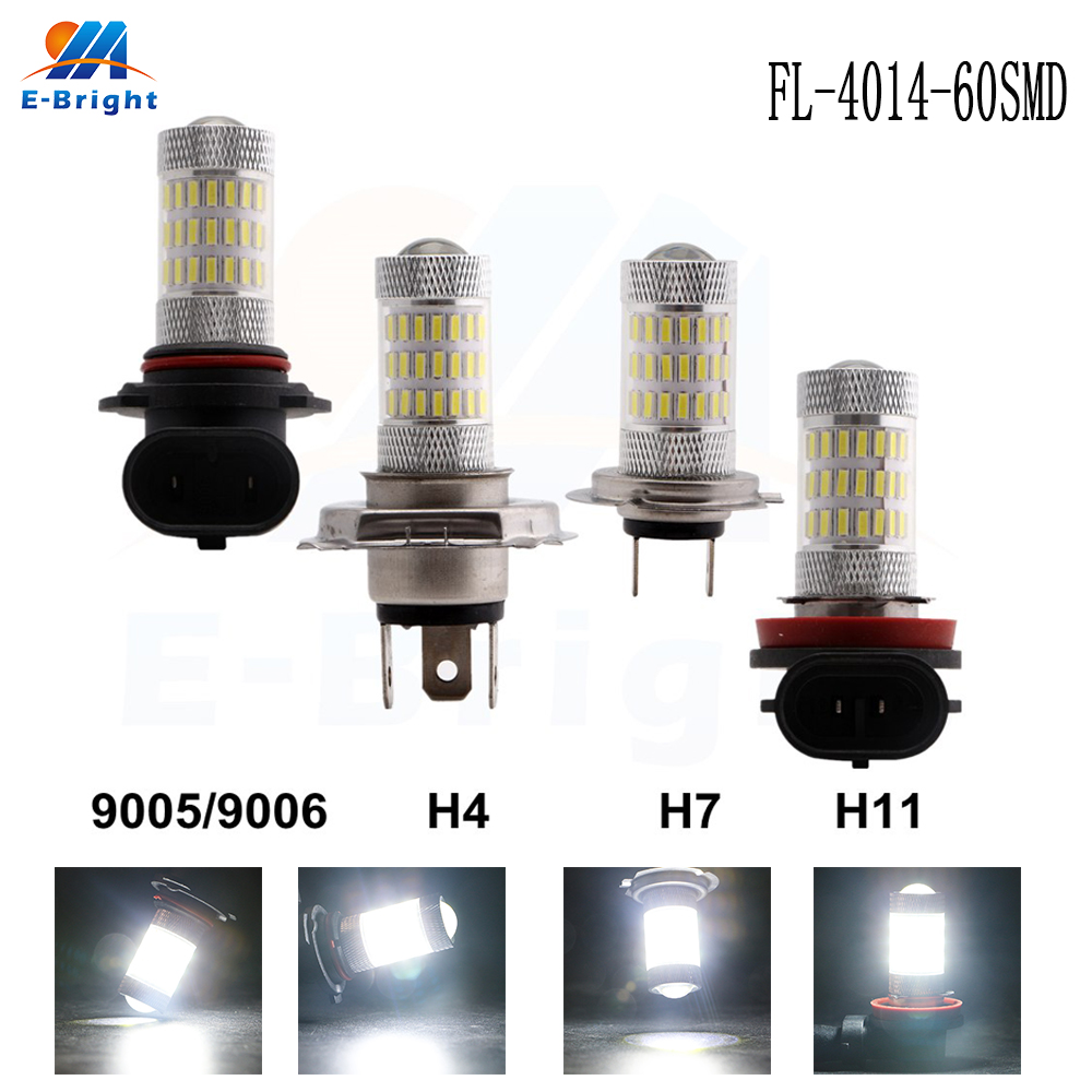 Strict 4pcs 4014 60 Smd 8000k 12v 24v Fog Light Bulb 9005 9006 H11 H7 H4 Led Bulbled Bulbs Automobiles Lamp 900lm For Universal Cars Demand Exceeding Supply Car Lights