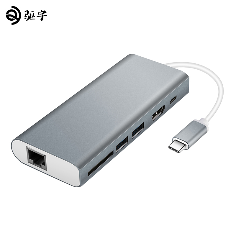 USB Type-C Hub 6-in-1 with C-type charging port 4K HDMI port Gigabit Ethernet port 2 USB 3.0 ports reader Converter orico usb hub 7 ports 5 gbps usb3 0 hub splitter support bc1 2 charging with 12v dc charging port