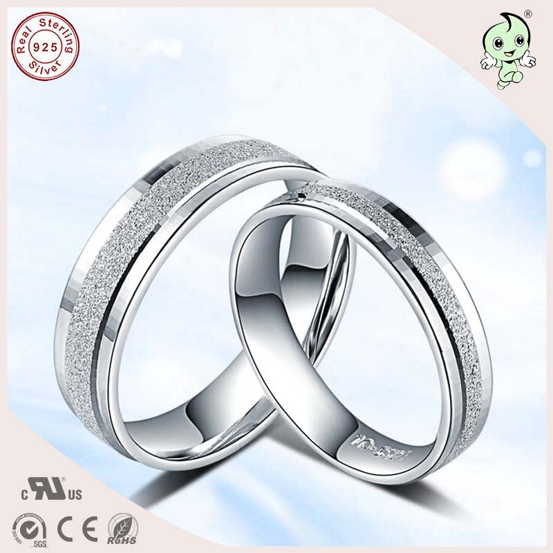 NEW Arrival Popular Frosted Surface S925 Sterling Silver Simple Flat Lover Engagement Ring