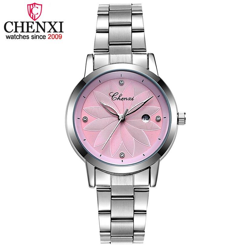 CHENXI Neue Mode Kalender Zifferblatt Frauen Quarzuhren Damen Stahl Armband Armbanduhren Frauen Fashion & Casual Liebhaber Geschenk