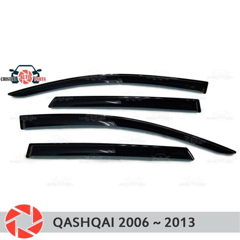 Déflecteur de fenêtre pour Nissan Qashqai 2006-2013 déflecteur de pluie protection contre la saleté voiture style décoration accessoires moulage