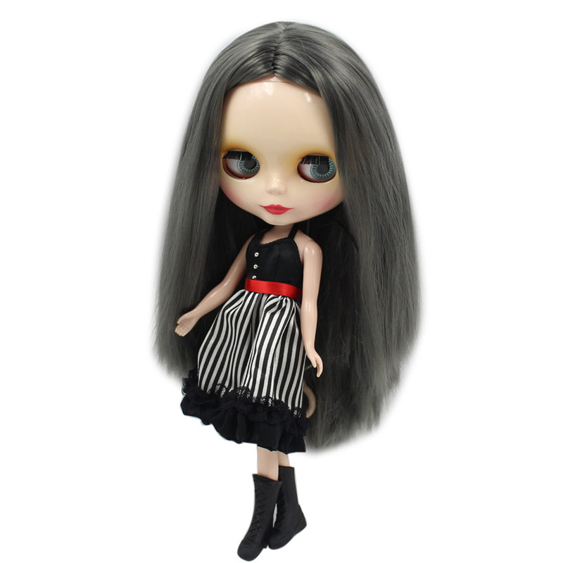 Nude Factory Blyth doll No 9016 Grey black hair without bangs white skin Neo BJD 30CM
