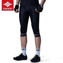 Santic 2019 Men Cycling Shorts 3/4 Fit Bike Short Pants 4D Anti Slip Padded Elastic Reflective Bottome Clothing M7C04087