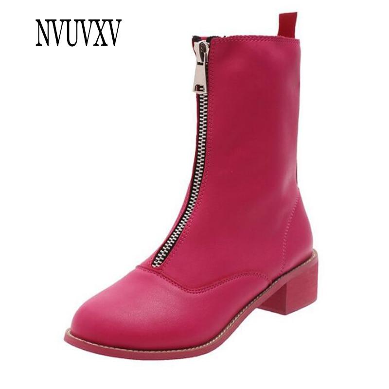 3744b27d861b2 Nouveau Et Beige Avant Court Bottes Simples Angleterre Zipper Rouge 2019 D hiver  rose Boot Rétro Les Automne Chaussures Femmes ...