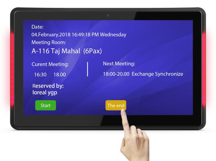 13.3 Inch Android-ready Conference Room Booking Display With LED Bar (Rockchip3288, 2GB/16GB,2.4G Wifi, 1000m Lan, Bluetooth4.0)