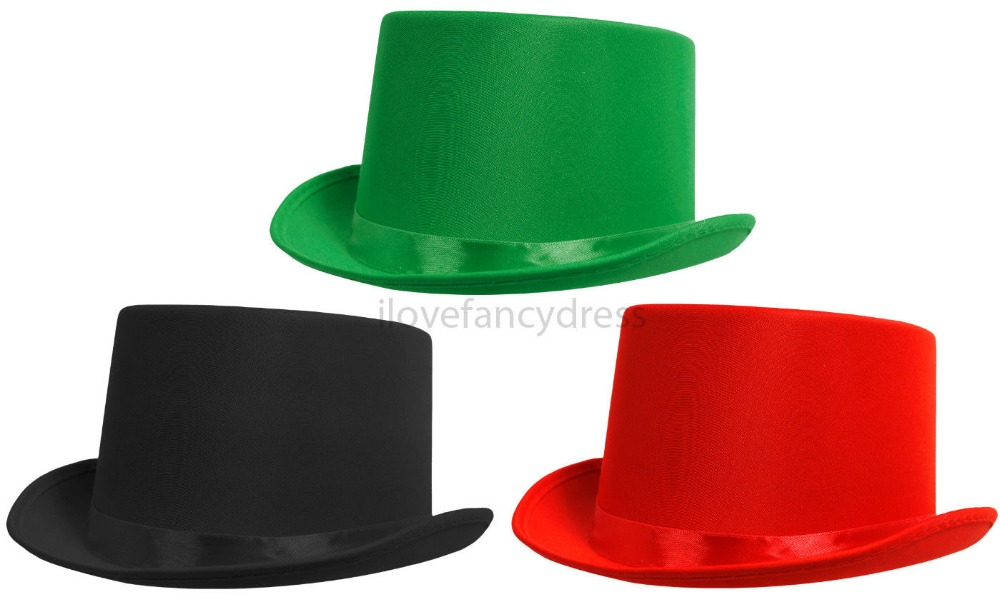 QUALITY IRELAND SATIN ST PATRICK DAY GREEN BLACK RED TOP HAT WITH BAND VICTORIAN FANCY DRESS DANCE THEATRE STAGE SHOW HALLOWEEN