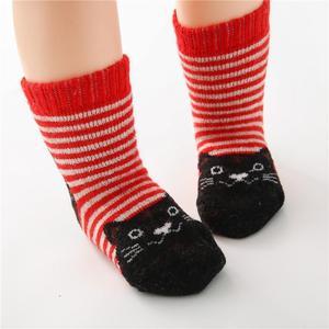 Image 5 - Calcetines de algodón para niños, calcetín con gato Animal, lana gruesa, a rayas, cortos, creativos, suaves y cálidos, para invierno, 2019