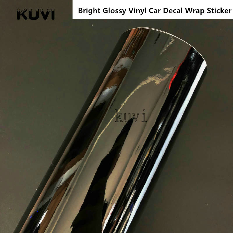 152cm Bright Glossy Vinyl Car Decal Wrap Sticker Black White Gloss Film Wrap Film Retail For Car Hood Roof Motorcycle Scooter