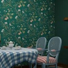 Американский пасторальный цветок и птица настенная бумага винтажная яблоня настенная бумага s рулон зеленая желтая настенная бумага Papier Peint QZ035