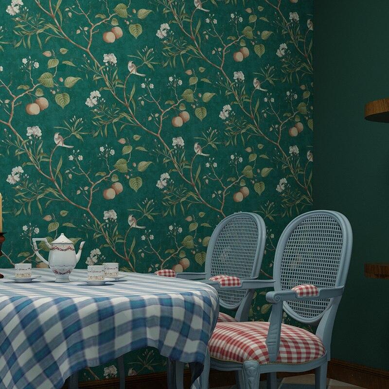 Papel pintado Pastoral americano con flores y pájaros, papel tapiz Vintage con Árbol de manzana, papel tapiz, rollo de papel de pared verde amarillo, papel pintado QZ035 Papel tapiz no tejido de estilo europeo papel tapiz clásico rollo púrpura/gris papel tapiz de lujo papel de pared floral papel de pared V1