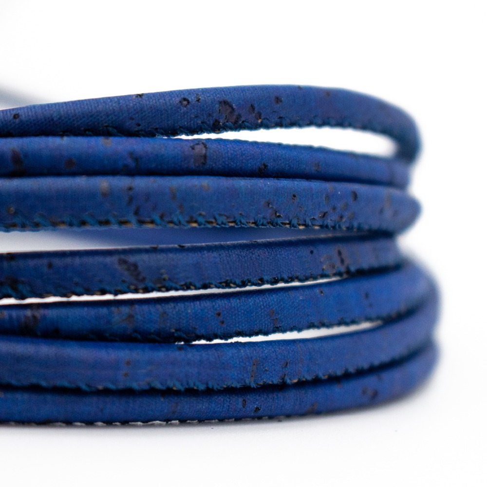 3mm Round Dark Blue Cork Cord Portuguese Cork Wholesale Jewelry Supplies /Findings COR-173-10
