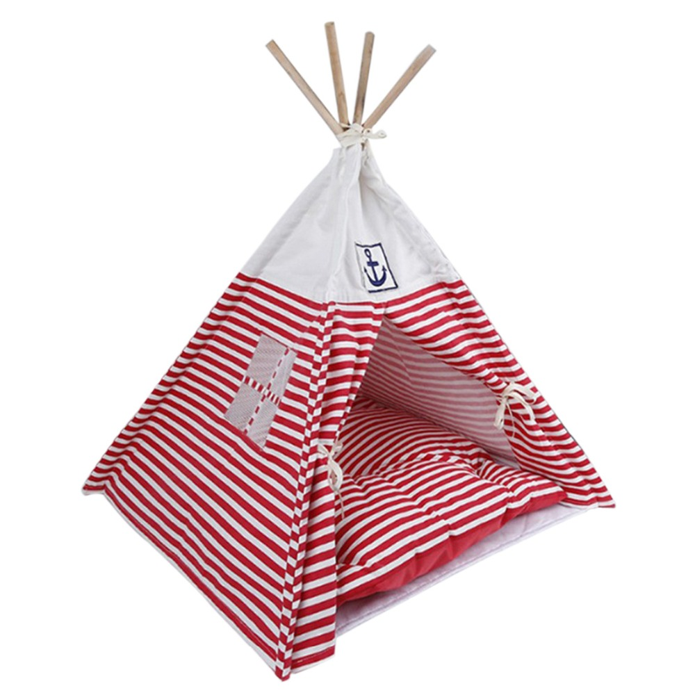 Kennel Dog House Fabric Dog Bed Pet Tent Wooden Kennel Foldable Pet Teepee Outdoor Puppy Cat Bed House with Mat Sleeping Pad