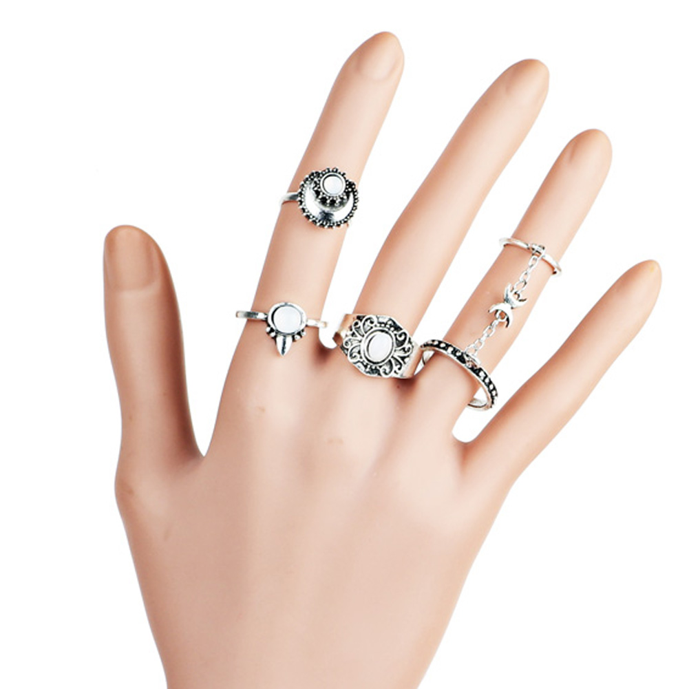 5Pcs Zinc Alloy Vintage Gypsy Moon Carved  Finger Tattoo Rings Toe Ring for Women  Mix Style Jewelry Bulks