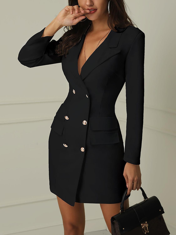 Women Business  Sexy Casual Outwear Women Slim Button Business Dress  Women