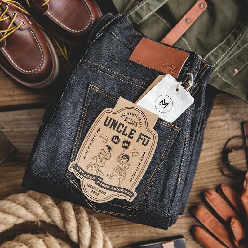 Мужские синие прямые джинсы Maden, одежда для работы, одноразовые Тканые штаны из необработанного денима в стиле оверсайз, хлопковые брюки, ра...