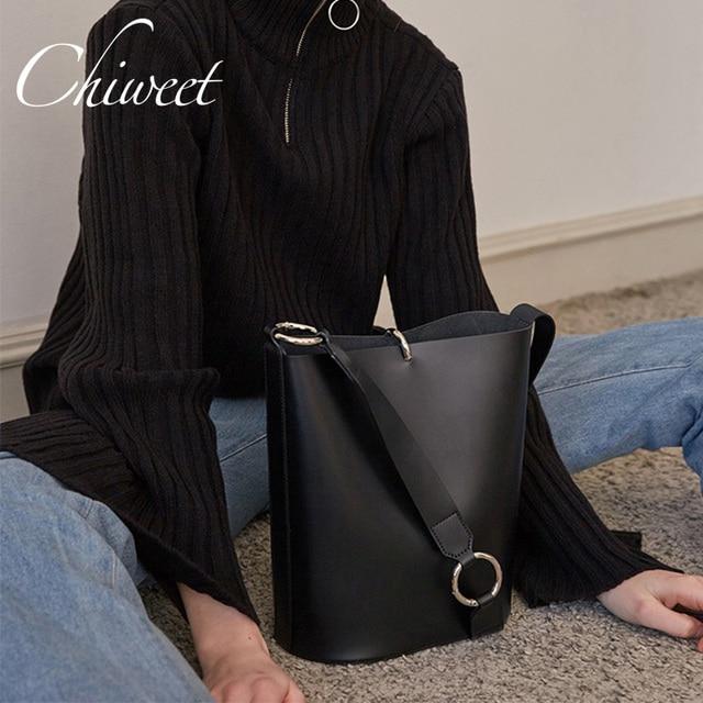 Brand Minimalist PU Leather Bucket Bag Luxury Handbags Women Bags Designer  Large Shoulder Bag Female Vintage Tote Messenger Bags de841017ff01d