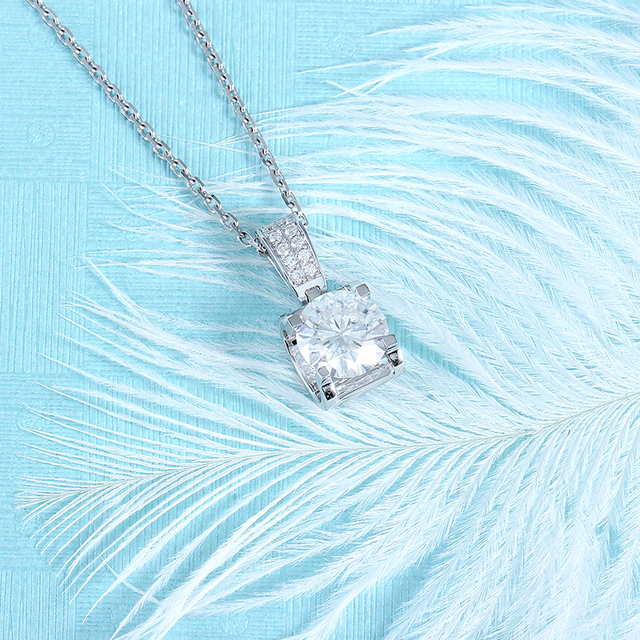 Transgems 14K White Gold 1.04CTW 6.5mm F Color Near Colorless Moissanite Pendant Necklace with Accents for Women Free Shipping 4