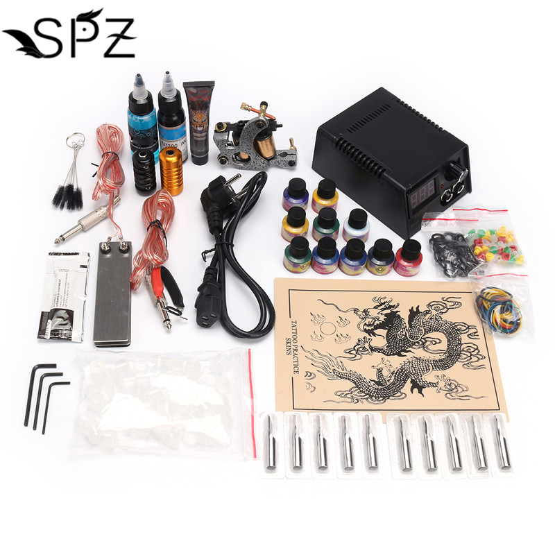 цена на Complete Tattoo Kit Set Tattoo Machine Gun Power Needles With 10Colors Ink Permanent Make Up Body Tattooing Art Supply 2018