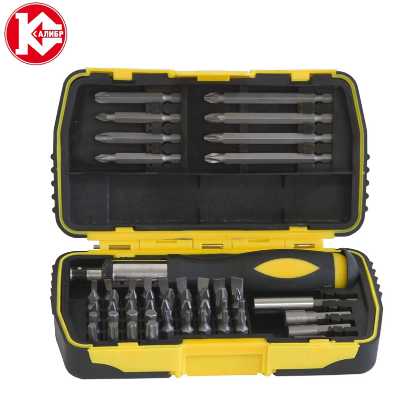 Kalibr NSO-53 in 1 Screwdriver Bits Set Multi-Bit Repair Tools Kit PC Laptop 360 Insert Bits Sleeves For Computer 15pcs set high speed steel titanium coated drill bits set 3 4 5mm 1 4 hex shank woodworking tool for metal fuli