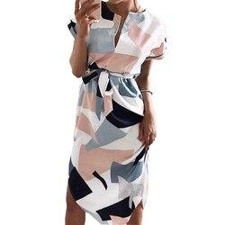 Geometric Print Dress 2018 New Fashion Women V-Neck Short Sleeve Summer Dresses Casual Sashes Robe Dress Vestidos