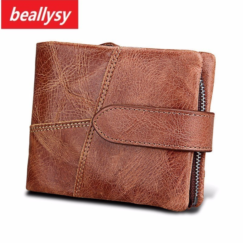 Fashion Genuine Cowhide Leather Men Wallet Small Zipper Men Walet Portomonee Male Short Coin Purse Brand Perse Carteira For Rfid