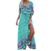 Women Beach Boho Maxi Dress 2018 Summer High Quality Brand V Neck Print Vintage Long Dresses
