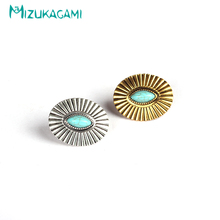 2017 Earings Brinco Originality Retro Oval Concho Stud Earrings Zinc Alloy Material For Women Elegant Design Jewelry Wholesale