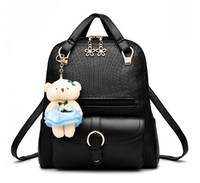 Cute bear ornaments backpack flower shape zipper front pocket girls rucksack PU leather backpacks on sale