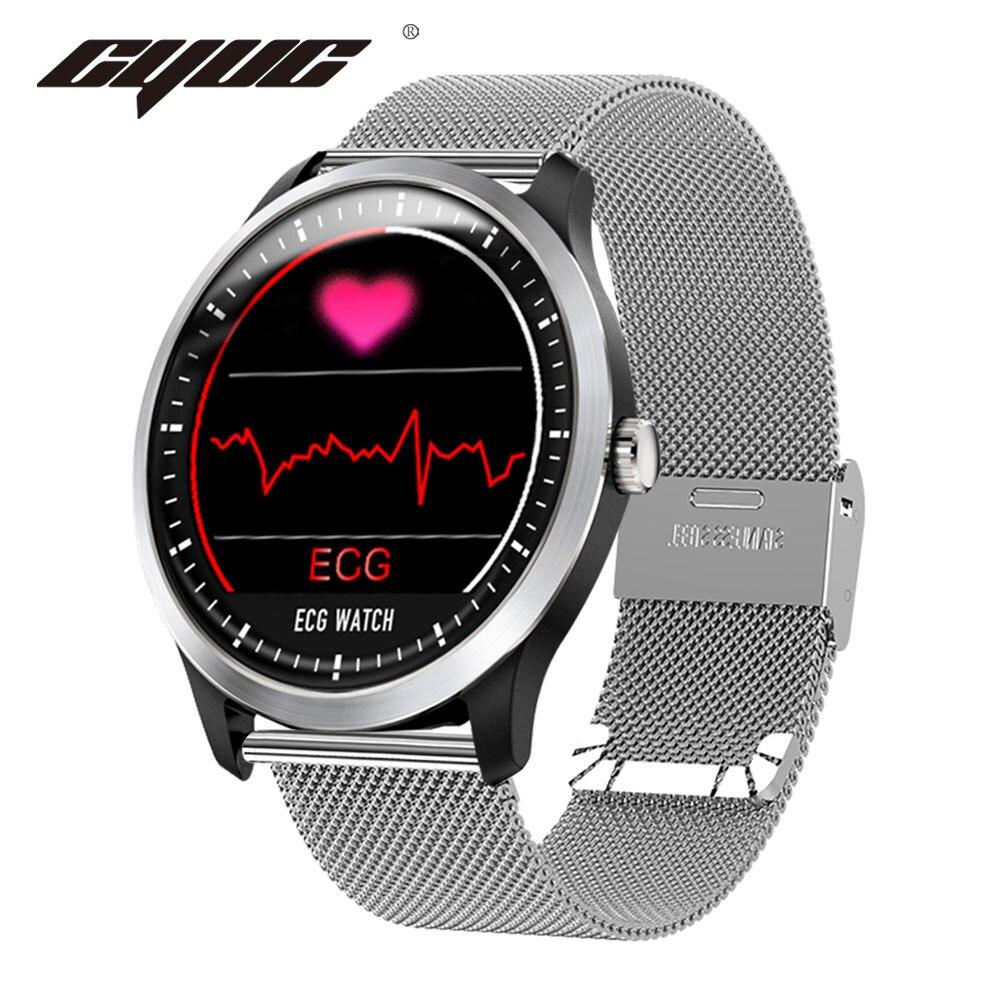 CYUC N58 ECG PPG montre connectée avec électrocardiographe ecg affichage, holter ecg moniteur de fréquence cardiaque sang pression smartwatch