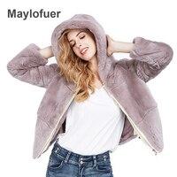 Maylofuer с капюшоном реального кролика рекс шуба Для женщин натуральный Лисий Меховая куртка меховой одежды зимняя женская обувь с натуральны