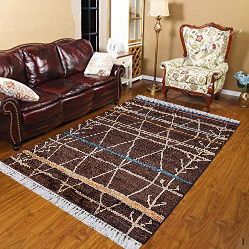 Else Brown Blue Beige Aztec Ropes Turkish Vintage 3d Print Anti Slip Kilim Washable Decorative Kilim Area Rug Bohemian Carpet
