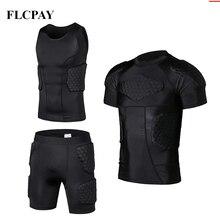 Мужская рубашка с подкладкой тренировочный жилет футболка короткий набор ребра бедра ягодицы протектор Футбол Баскетбол Хоккей защитное снаряжение