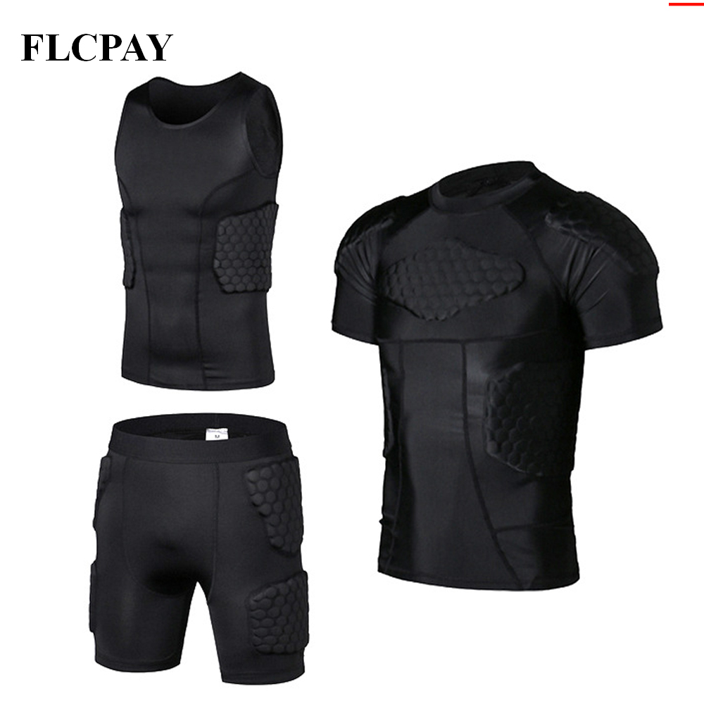 Men's Padded Shirt Training Vest T-shirt Short Set Ribs Thighs Buttocks Protector Football Basketball Hockey Protective Gear