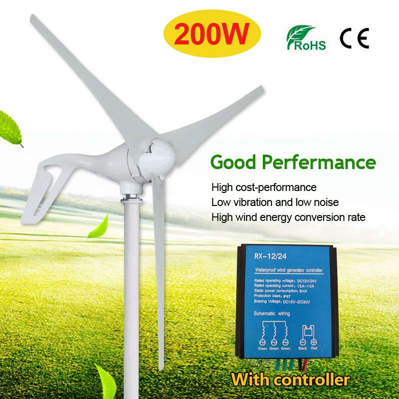 купить 12/24V 200W 3 Blades Wind Turbine Generator Wind Power Generator With Charge Controller Excellent Quality по цене 14048.96 рублей