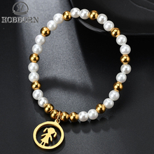 HOBBORN Classic Stainless Steel Beads Jewelry Girl Figure Simulated Pearl Beaded Bracelets Women New High Quality Charm Bracelet
