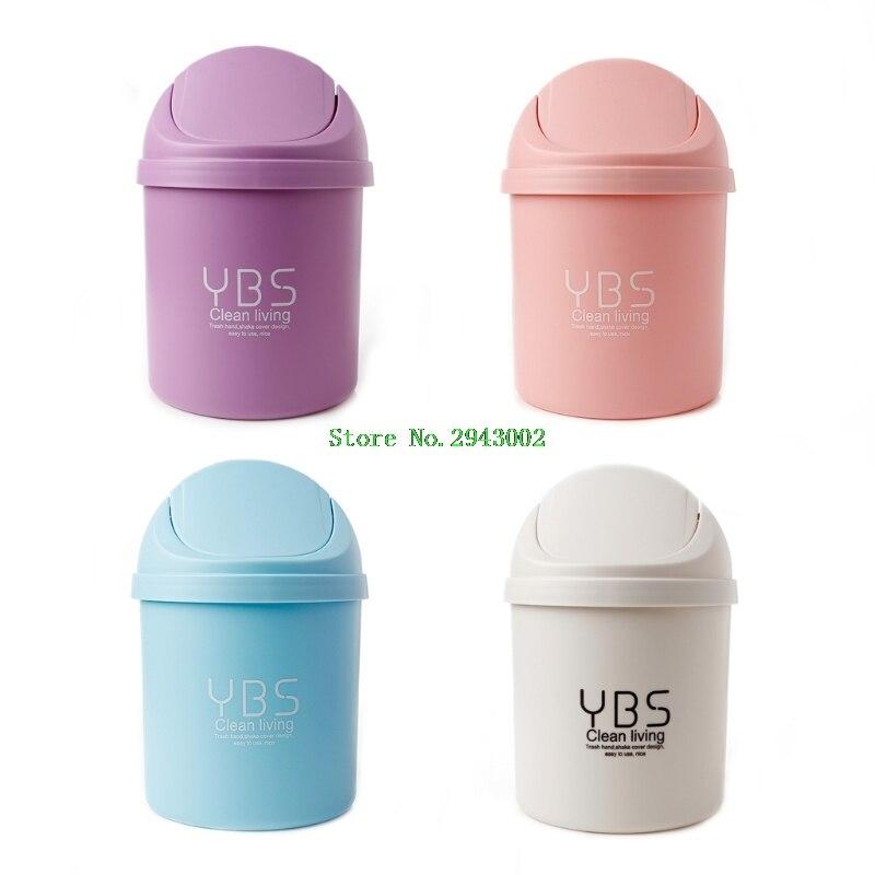 Waste Bins Plastic Desktop Garbage Cleaning Barrel Creative Candy Color Small Trash Can Desk Organizer Dustbins