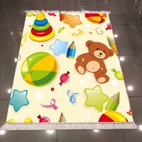 Else Cream Floor Brown Bear Colored Baby Toys Star 3d Print Anti Slip Back Washable Decorative Kilim Kids Room Area Rug Carpet