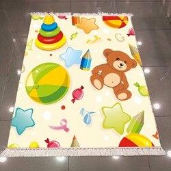 Innego krem podłogi niedźwiedź brunatny kolorowe zabawki dla dzieci gwiazda 3d drukuj Anti Slip powrót zmywalny dekoracyjne Kilim dla dzieci pokój obszar dywan dywan w Dywan od Dom i ogród na