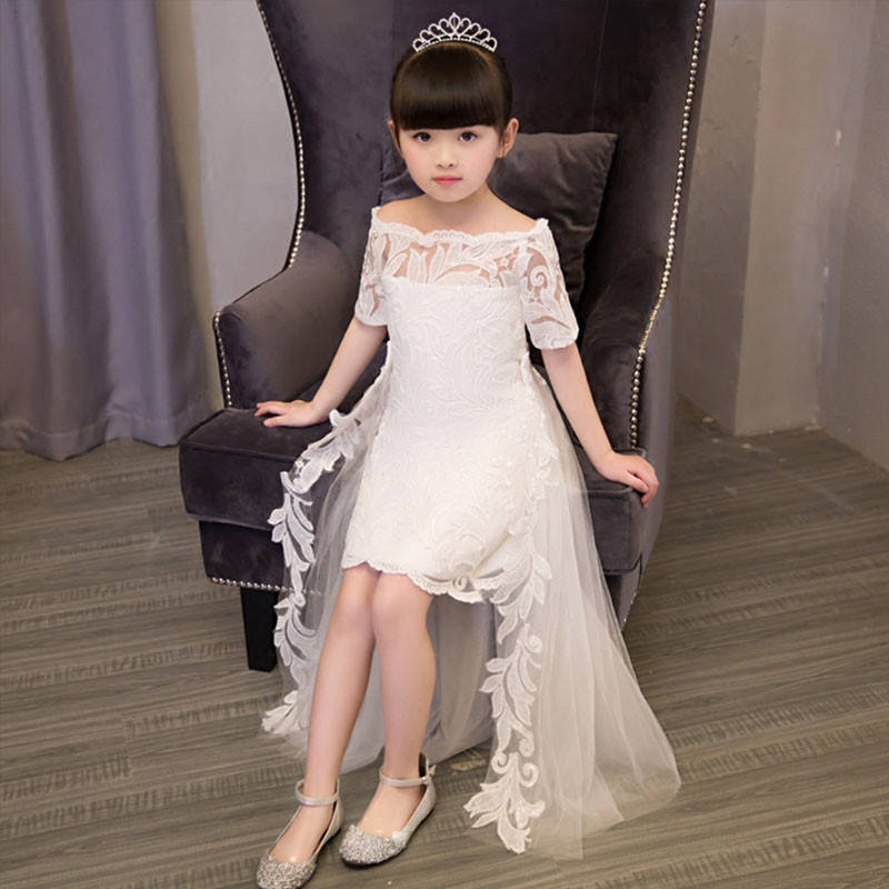 Girls White long tail baby dress first holy communion dresses for girls white red party cocktail hollow out formal