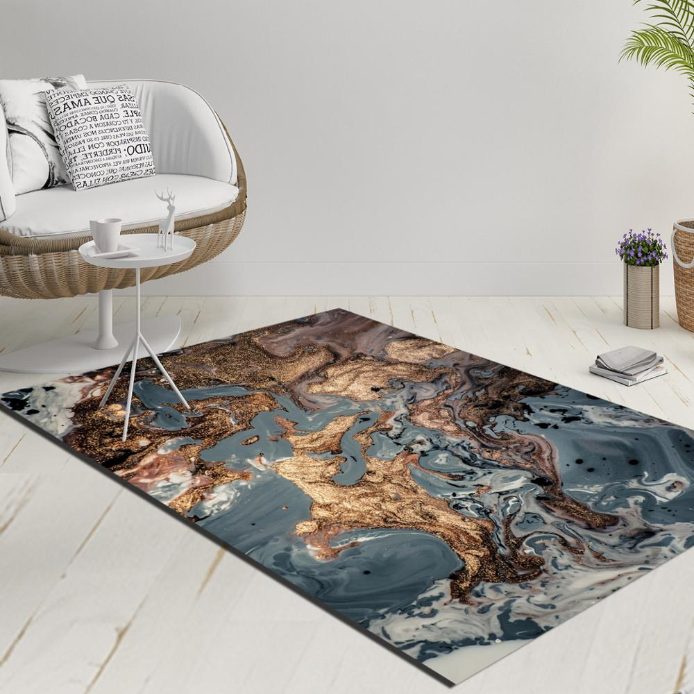Else Blue Brown Gray Abstract Watercolor Decorative 3d Print Anti Slip Kilim Washable Decorative Kilim Rug Modern Carpet