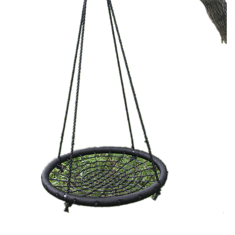 35 Diameter Saucer Spider Web Tree Swing Outdoor Sports Hammock Spacious Net Swing For Multiple ChildrenTo Swing Together Black