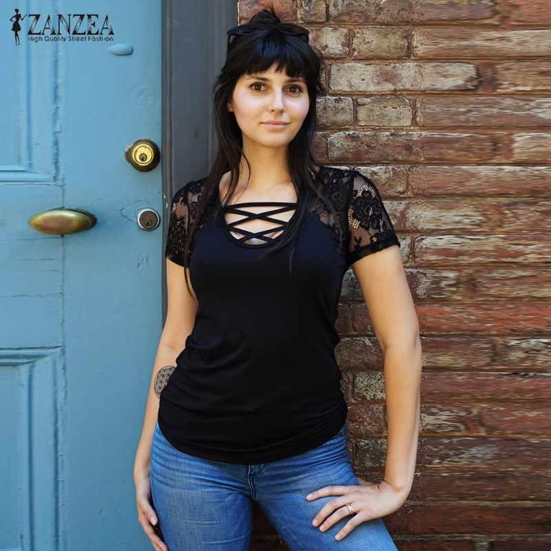 2019 ZANZEA женская сексуальная с глубоким v-образным вырезом на шнуровке с коротким рукавом летняя кружевная крючком тонкая футболка Pacthwork однотонные топы майки плюс размер