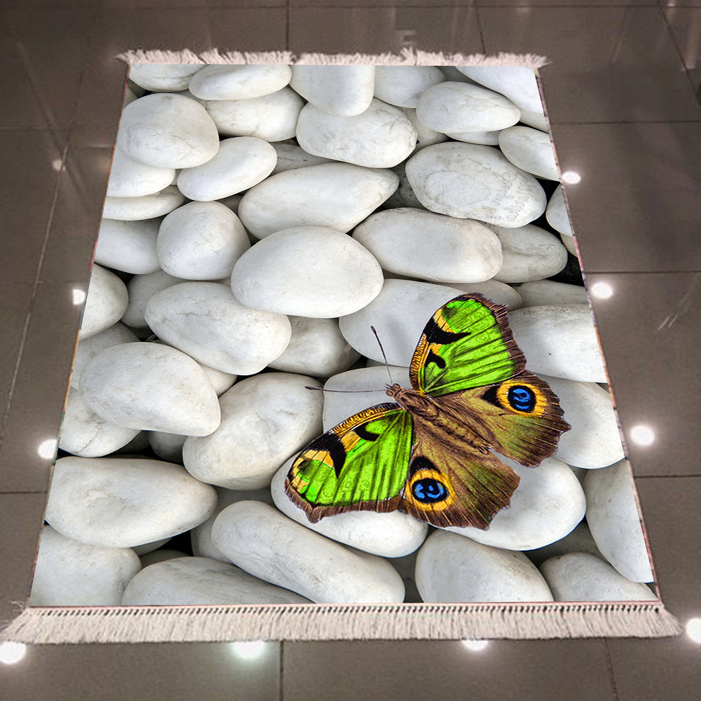 Else Gray White Pebble Stones Green Butterfly 3d Print Microfiber Anti Slip Back Washable Decorative Kilim Area Rug Carpet