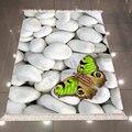 Sonst Grau Weiß Pebble Steine Grün Schmetterling 3d Druck Mikrofaser Anti Slip Zurück Waschbar Dekorative Kelim Bereich Teppich Teppich|Lumpen|   -