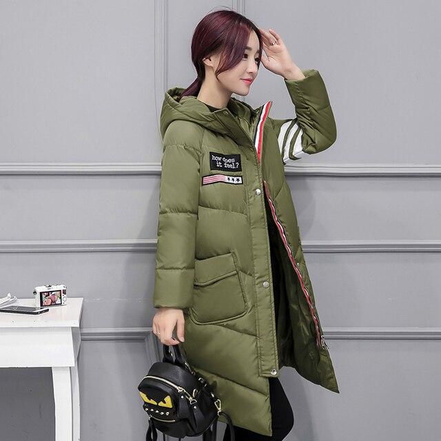 Mulheres Jaqueta de inverno Casuais Longo Quente Para Baixo acolchoado-Algodão Com Capuz Parkas Brasão Jacket Bolso Grande Casaco Outwear