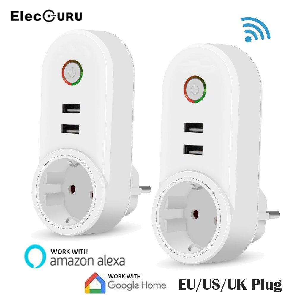 EU/US/UK Разъем Smart Wi-Fi розетка с 2 USB приложение удаленного Управление сроки переключатель работать с Amazon Alexa/Google дома 110 В-230 В 10A