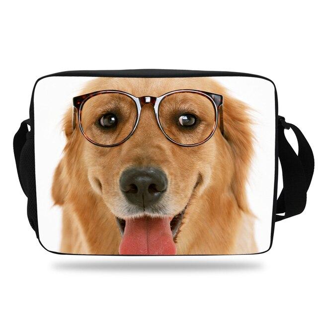 2017 Bonito Impressão 3d Animal Cão Bolsa de Ombro Messenger Bag Para Meninas Mulheres Tote Messenger Bag Ombro Cinta Meninos Bookbag